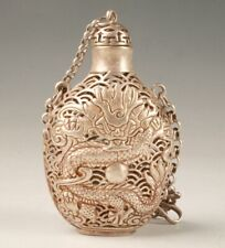 RARE TIBETAN SILVER CARVING DRAGON STATUE SNUFF BOTTLE HOLLOW PENDANT OLD GIFT