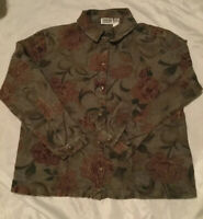 Chicos Design Womans Green Floral Jacket Size 3 (XL)Gold Thread Embroidered