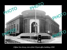 OLD LARGE HISTORIC PHOTO OF CLIFTON NEW JERSEY, US POST OFFICE BUILDING c1930