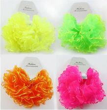 PK Of 2 Ladies/Girl Chiffon Fluffy Neon Hair Scrunchies Bobble Hair decor.