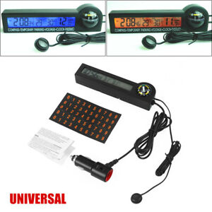 Car Parking Guide Ball Thermometer Voltmeter LED Car Backlight Electronic Clock