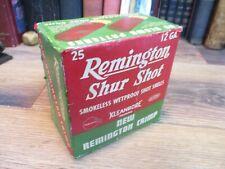 REMINGTON SHUR SHOT empty 12 GA 2 3/4 IN SHOTGUN PAPER SHELLS shot shell box