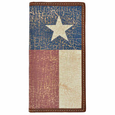 3D Mens Brown Crackle TEXAS FLAG Rodeo Genuine Supple Leather Wallet Billfold