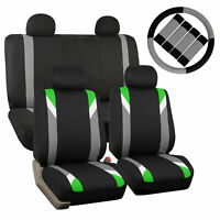 Car Seat Cover Set For Auto Sporty Green W/4Head Rests,Steering Cover,Belt Pads