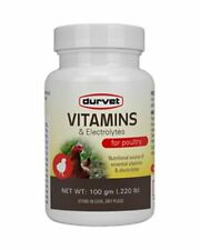 Durvet Vitamins Amp Electrolytes For Poultry 100 Gm Water Soluble Premix