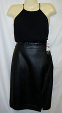 NWT XOXO 13 14 L XL Black Wiggle Pencil Dress Skirt Faux Leather Key Hole Sexy