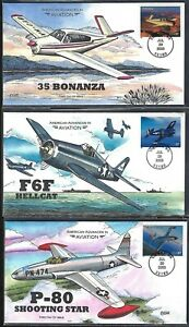US 2005 AMERICAN ADVANCES IN AVIATION SET OF 6 FDCs COLLINS CACHET