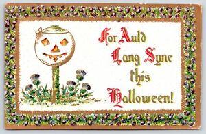 Halloween~White Jack O Lantern on Post~For Auld Lang Syne~Purple Heather Border