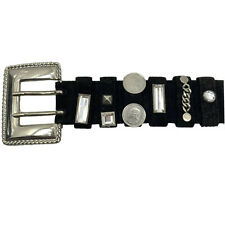 ESCADA ITALY Black Suede Studded Belt Silver Coin Medallions Crystals Chains