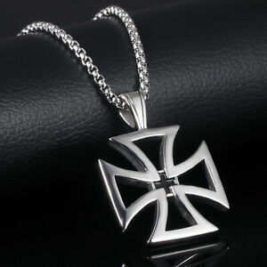Rugged Heavy Maltese Iron Cross Silver Black Stainless Steel Pendant Necklace