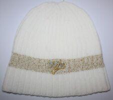 size 40 8b356 1fd27 NIKE WOMEN S OSFM WHITE   GOLD CUFFLESS ACRYLIC KNIT BEANIE SKI HAT CAP ...