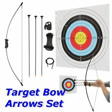 16 lbs Black Long Junior Sport Kid Youth Bow And Arrow Set Archery Train 3 Arrow