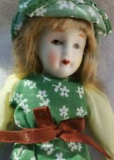 Vintage Porcelain Bisque Balos Doll Taiwan Yellow Dress Sun Hat . From the 80s
