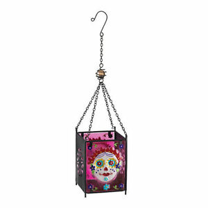 Day of The Dead Painted Lady Skull Glass Hanging Lantern Candleholder NEW hallow