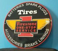VINTAGE FIRESTONE TIRES PORCELAIN AUTO CAR SPARK PLUGS SUPPLIES SERVICE SIGN