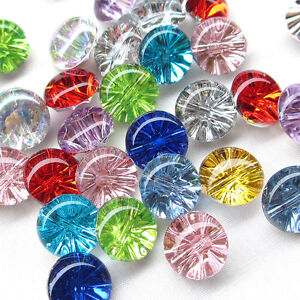 New 100PCS Clear Plastic Buttons Disco 13mm Sewing Craft