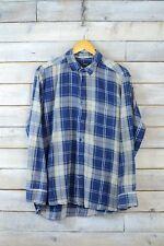 Vintage Azul & Crema de cuadros camisa de franela (L)