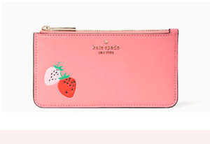 NWT KATE SPADE Picnic In The Park Large Slim Card Holder Garden Pink Strawberry