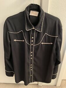 Scully Western Shirt Black With Cream Colored piping Size Large