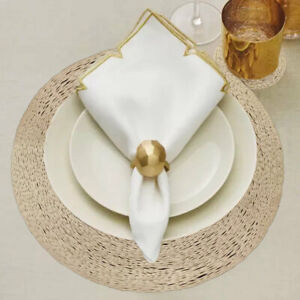 Round Placemats and Coasters  Gold Table Vinyl Place Mats Dining Table Set of 6