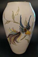 MCM Hand Painted Large Ceramic Vase West Germany Stylized Hummingbirds GORGEOUS