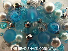 Glass Bracelet Making Kit / Bead Mix - Turquoise & Silver -  Frozen