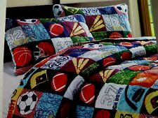 2 Pc Reversible Twin Quilt Set Comforter Sham Sports Balls Theme NEW!! $80