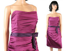Alfred Angelo Formal Gown 12 L Strapless Short Purple Prom Bridesmaid Dress NWT