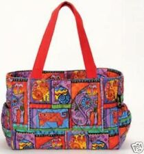 Laurel Burch Cotton Quilted Cat Family Portraits Shoulder Tote Bag Felines NWT