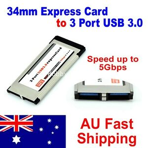 Laptop 34mm Express Card ExpressCard to 2 Port USB 3.0 Adapter Speed up to 5Gbps