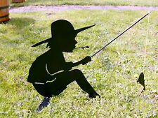 ANGLER Junge aus Stahl die DEKO für den Gartenteich, den Garten, den Eingang