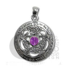 Dryad Designs Silver Large Cut Out Moon Pentacle Pendant Amethyst TPD 203