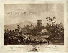 View around Gallion, I. Large signed copper engraving from ca. 1750.