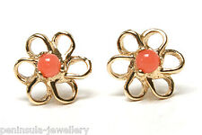 9ct Gold Coral Stud earrings Gift Boxed Studs Made in UK