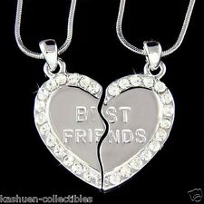 w Swarovski Crystal Engraved ~Best Friend~ Heart 2 Chains Pendant Necklace Xmas