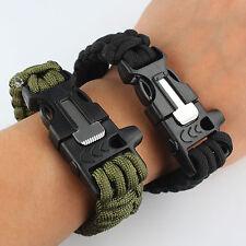 Hot Survival Paracord Bracelet Outdoor Flint Fire Starter Scraper Whistle Gear