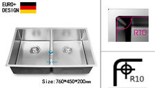 760mm Kitchen Sink R10 EDGE Handmade Stainless Steel Undermount Topmount Laundry