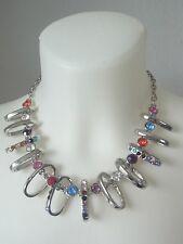 Kette Halskette Collier mit Zirkonia Steine Multicolor bunt