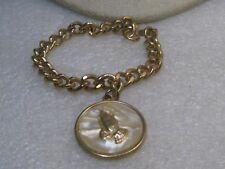 "Vintage Praying Hands Charm Bracelet, 7"" and 8mm curb link, 1960's"