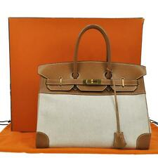 AUTHENTIC HERMES BIRKIN 35 TOILE H COUCHEVEL BE BR HAND BAG GHW VINTAGE JT02995