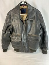 Tommy Hilfiger Bomber Coat Jacket Mens Large Brown Faux Leather Sherpa Lined