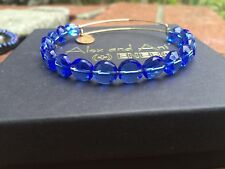 NEW ALEX and ANI SAPPHIRE Blue Crystal  LUXE Beaded SINGLES GOLD Bangle BRACELET