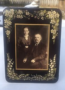 Large Antique Celluloid tinted Photo Floral easel back Victorian Elderly couple