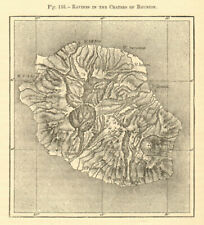 Ravines in the craters of Reunion. Réunion. Sketch map 1886 old antique