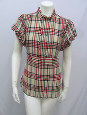 JUICY COUTURE 100% SILK TOP PLAID AMAZING SLEEVES RED BEIGE & BLACK SIZE 6