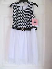 NWT Girl's Amy's Closet Black,White Sheer Sleeveless Dress w/black belt sz 6