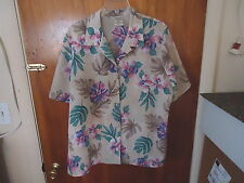 Womens Allison Daley 11 Size 16 W Multi Color Button Down Short Slv.Floral Top