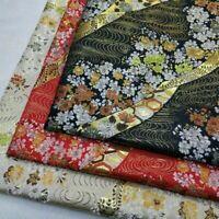 Japanese Brocade Fabric Satin Faux Silk Floral Dress Clothes Kimono Retro Red
