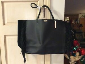 Victoria Secret Black Faux Leather Fringe Tote Bag - New with Tag