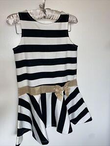 Janie And Jack Girls Black And White Stripe Ponte Dress With Gold Sash 6 Yrs
